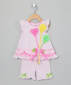 Take a look at this Pink Seersucker Balloon Tunic & Capri Pants - Infant by Rare Editions on #zulily today!
