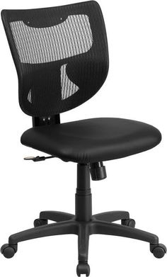 Flash Furniture WL-F061SYG-LEA-GG Galaxy Mid-Back Designer Back Task Chair with Padded Leather Seat