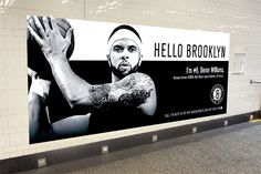 "Nets Campaign of its stars along with a personalized message, here featuring Deron Williams.   ""Hello Brooklyn. I'm #8, Deron Williams, three-time NBA All-Star and father of four."""