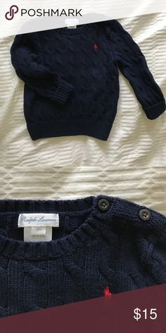 Ralph Lauren  Sweater-18mo- like new!! Like new sweater from Ralph Lauren- worn just a few times, excellent condition. Unique button detail on shoulder. Toddler Boys -size 18mo Ralph Lauren Shirts & Tops Sweaters