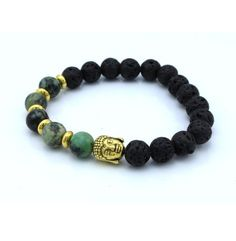Buddha Head Bracelet - Deep Jungle - Gold $15