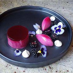 Blackberry pannacotta, meringue & pansy. ✅ By - @lvin1stbite ✅ #ChefsOfInstagram @DessertMasters