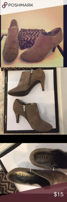 Selling this Tan ankle heeled boots, size 6.5 and chevron scarf on Poshmark! My username is: prairiechic24. #shopmycloset #poshmark #fashion #shopping #style #forsale #a.n.a #Shoes