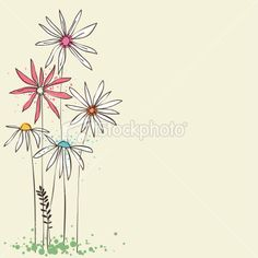 I really like these...such character they have.  Doodle Flowers Royalty Free Stock Vector Art Illustration