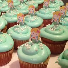 Mermaid cupcakes for my little mermaid! Chloe wants a mermaid/batman (really?!) birthday this year...