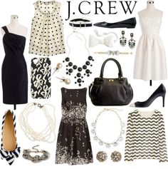 """""""J.Crew black & white"""" by elizabeth-noreen ❤ liked on Polyvore"""