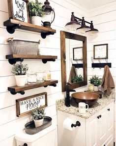 Are you looking for pictures for farmhouse bathroom? Browse around this website for perfect farmhouse bathroom inspiration. This particular farmhouse bathroom ideas will look terrific. Rustic Bathroom Designs, Rustic Bathroom Decor, Farm House Bathroom Decor, Bathroom Shelf Decor, Rustic House Decor, Floating Shelves Bathroom, Rustic Apartment Decor, Mirror Shelves, Rustic Bathroom Shelves