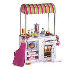 American Girl Campus Snack Cart Maggie fell in love with this the other day I will get it for her for Christmas American Girl Food, American Girl Doll Room, American Girl Furniture, American Girl Doll Samantha, Poupées Our Generation, Minnie Mouse Toys, Baby Doll Accessories, Doll Food, Barbie Toys