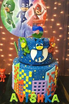 Check out this awesome PJ Masks birthday party! The cake is fantastic! See more party ideas and share yours at CatchMyParty.com  #catchmyparty #partyideas #pjmasks #pjmasksparty #boybirthdayparty
