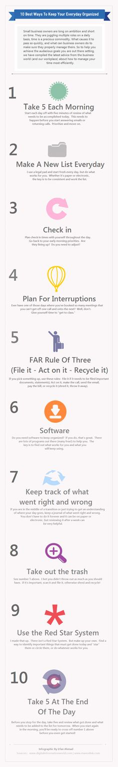 "10 best ways to keep your days organized for small business owners - ""1) Take five minutes each morning 2) Make a new list everyday 3) Check in throughout the day. Are you following you morning priorities? ...10) Take five at the end of the day. Review the day and assign what needs to be done the next day."" #Infographic by Irfan Ahmad"