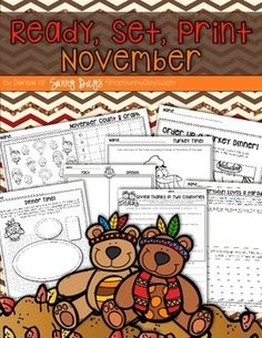 November Printable Pack - 20 engaging and meaningful printables for November. Perfect for the short week before Thanksgiving or if you have to send home a work pack over the break.