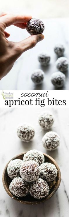 These coconut apricot fig bites are the yummiest snack! They're naturally gluten-free, paleo friendly and vegan by Lindsay Cotter for Healthy Seasonal Recipes