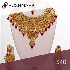 New Bollywood Indian jewelry 4 piece set. Set of earring a headpiece and a necklace. Jewelry Necklaces
