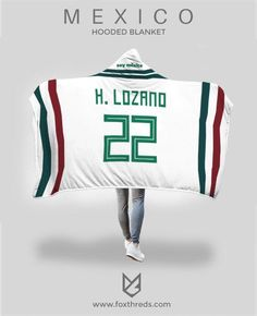 c7e22a6a3 Hirving Lozano Mexico Away Jersey 2018 Hooded Blanket - FIFA World Cup  #lozano #hirvinglozano