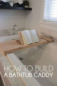 Learn tips to build your own multifunctional bathtub caddy with a foldable book stand and a wine glass holder. Bathtub Tray, Bathtub Caddy, Bathroom Caddy, Diy Bathtub, Bathtub Shelf, Small Bathroom, Bathtub Board, Bathtub Bench, Wood Projects