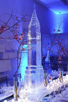 An impressive Empire State Building-shaped ice-sculpture sits atop a table at the launch party dinner.