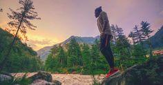 Landscapes Himalayas Wallpaper |  hill himalaya landscape man mountains Nature outdoors person river sunset travel trees |  #desktop #wallpapers