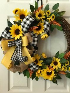 This beautiful Sunflower Grapevine with Black and buffalo check bow will take your decorating through fall and can be used all year round. A bright cheerful way to welcome friends and family. This wreath was made in a pet free and smoke free environ Wreath Crafts, Diy Wreath, Grapevine Wreath, Grapevine Christmas, Christmas Gifts, Tulle Wreath, Prim Christmas, Wreath Ideas, Christmas Trees