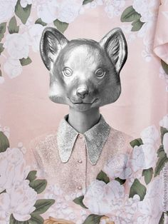Image of Floral Fox photograph 20 x cm = x inch Clothing Photography, Vintage Outfits, Teddy Bear, Foxes, Floral, Animals, Inspiration, Image, Shopping