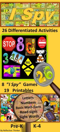 "A fun review of skills over summer break! The 26 activities included in this 67-page resource can be printed, displayed on a computer, or projected. The 8 ""I Spy"" pages were designed to be used with the 19 work pages. Students interact with the ""I Spy"" games as they practice letters, numbers, road signs, sight words as well as addition, subtraction and other math facts. The printable work pages were designed to help teachers differentiate instruction to better meet students' needs."