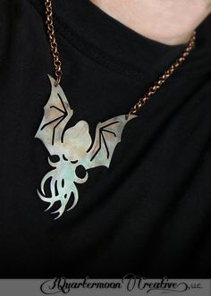 Patinaed Brass Cthulhu Pendant Necklace by 3QuartermoonCreative