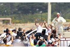 Selfies with the Pope in Guayaquil, Ecuador, during his visit to South America.