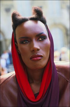 Grace Jones in film'A view to Kill' on August 17,1984. Description from gettyimages.co.uk. I searched for this on bing.com/images