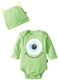 Disney Baby Baby-Boys Newborn Monster Inc. Bodysuit with Cap and Ears, Green