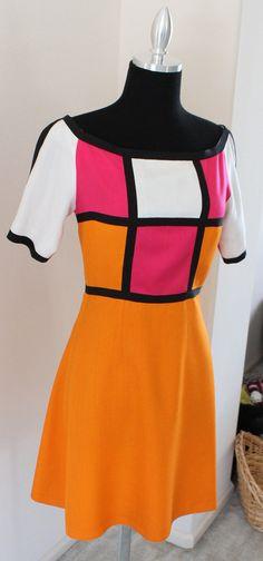 1960's Rare Color Block Saks Fifth Avenue Made in France Mod Dress. $135.00, via Etsy.