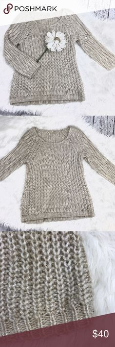 """💕SALE💕Anthropologie Knitted Knotted Taupe Sweate 💕SALE💕Anthropologie Knitted Knotted Gorgeous Taupe Sweater 66% Acrylic 21% Polyester 11% Nylon 25"""" from the top of the shoulder to the bottom 18"""" from armpit to armpit 22"""" sleeve length small gold sequins within sweater Perfect for the holidays Anthropologie Sweaters"""