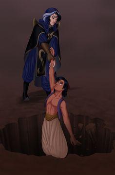 Entry for the Disney-club's Villain's Gone Good contest, ^_^ Mozenrath saving Aladdin from falling to his death. It's based on a fic idea of mine. Disney Fun, Disney Movies, Disney Stuff, Disney Princes, Disney Villains, Kilala Princess, Scott Weinger, Aladdin Art, Modern Disney