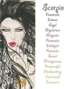 Scorpio, Zodiac SIgn, Watercolor, Print, Illustration, Girl