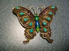 Art Deco Chinese Silver Filigree Enameled Butterfly Brooch with Turquoise Sets
