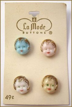 ButtonArtMuseum.com - Vintage Realistic Glass Buttons w/4 Cute HP Child's Faces, Original Store Card!!