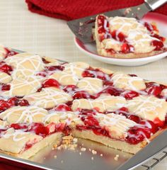 Homemade cherry pie bars These cherry pie bars are tasty and pretty! A homemade dessert that is easy to make and slices up and serves perfectly! Use your favorite pie fillings! Cherry Desserts, Cherry Recipes, Easy Desserts, Delicious Desserts, Dessert Recipes, Homemade Desserts, Health Desserts, Cherry Pie Filling Desserts, Cake Recipes