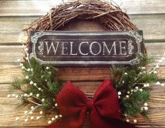 Welcome Holiday Rustic Grapevine Wreath with garland, pearls and a beautiful burlap bow! Holidays. Seasonal. Christmas. Winter. by TheRusticLivingRoom on Etsy