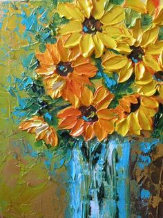 You know me and my love for sunflowers and paint! Actually I think these are black eye susans...but they're still beautiful!