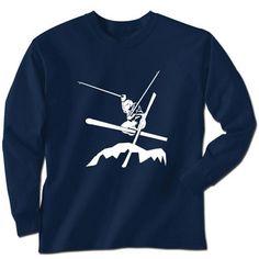 Skiing Tshirt Long Sleeve Airborn Skiing