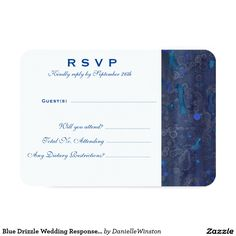 Blue Drizzle Wedding Response Card (Detailed)