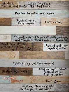 Lots of ideas for different ways to age wood and finish wood for a shabby chic look.