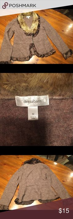 Dressbarn Blazer w/Faux Fur Collar Lighter brown blazer with faux fur tan collar and dark brown ruffles around the edges. Never worn but tags have been removed. Dress Barn Jackets & Coats Blazers