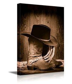 """Canvas Prints Wall Art - American West Rodeo Cowboy Black Felt Hat Atop Worn Western Boots Vintage Style 