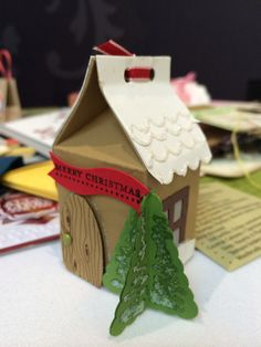 Stampin up milk carton die as a gingerbread house, saw this at Stampin up convention in Manchester. Look up michaela kerr on. The UK Stampin up website if you would like to place an order