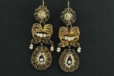 Boucles d'Oreilles Anciennes Or Filigrane Perles Fines, Precious et Antique, Proantic