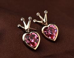 Crystal Earrings, Zinc Alloy, with Crystal, stainless steel post pin, Heart, rose gold color plated, with Austria rhinestone & faceted, more colors for choice, nickel, lead & cadmium free, 15mm, 5Pairs/Bag,china wholesale jewelry beads