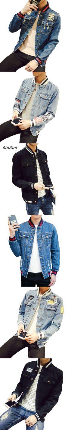Mens Jacket Stand Collar Solid Casual Slim Bomber Jacket Men Plus Size S-4XL 5XL Cowboy Mens Denim Jacket Chaqueta Hombre