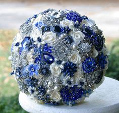 Blue and white bling