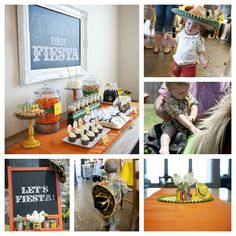 Vintage Fiesta Themed Party - Dessert Table - Kid's Sombrero - El Pato Cans - Mini Horse