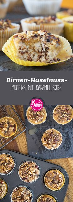 Birnen-Haselnuss-Muffins mit Karamellsoße Juicy pear muffins with hazelnut crunch and caramel sauce Fruit Recipes, Cupcake Recipes, Mini Cakes, Cupcake Cakes, Sully Cake, Mini Chocolate Chip Muffins, Pear Muffins, Dessert Sauces, Crazy Cakes