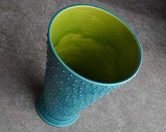 colors! Dottie Vase Modern Slip Trailed Caribbean by symmetricalpottery